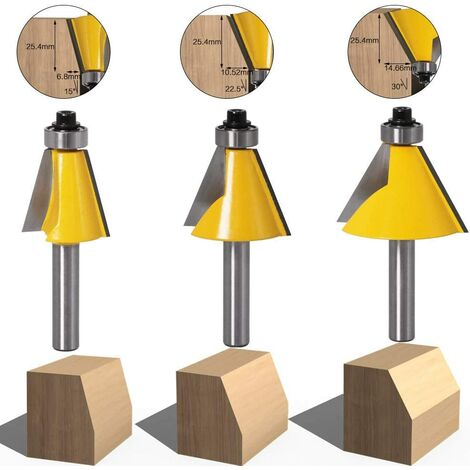 3pcs 8mm tige chanfrein et chanfrein chanfrein outil de travail du bois fraise du bois (15 degrés + 22,5 degrés + 30 degrés)