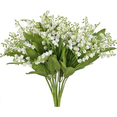 3PCS Fleurs Artificielles Intérieur Extérieur Arbuste Artificiel avec Fleurs Blanches et Feuilles Vertes pour Déco Mariage Table Maison Jardin Arrangement Floral Vase Corbeille Pot