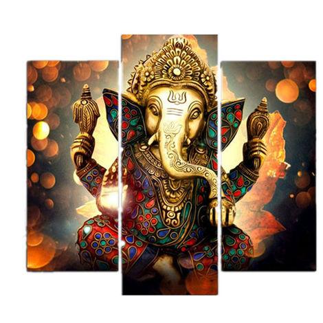 3Pcs Ganesha Wapiti Painting Canvas Print Art Wall Home Living Room Decor