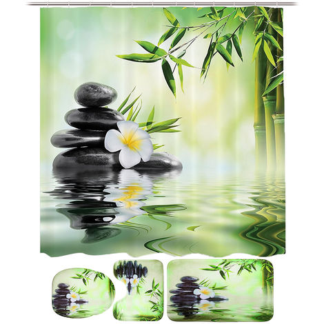 3Pcs in Kit Bath and Toilet Mat Cover Lid Non-Slip Absorbent Toilet Carpet WC Bamboo running water