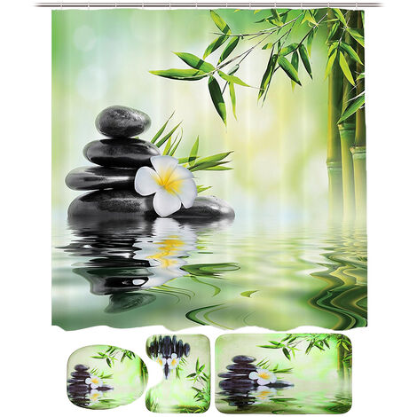 3Pcs in Kit Bath & Toilet Mats Cover Toilet Lid Non-slip Absorbent Mohoo Bamboo Running Water WC Mat
