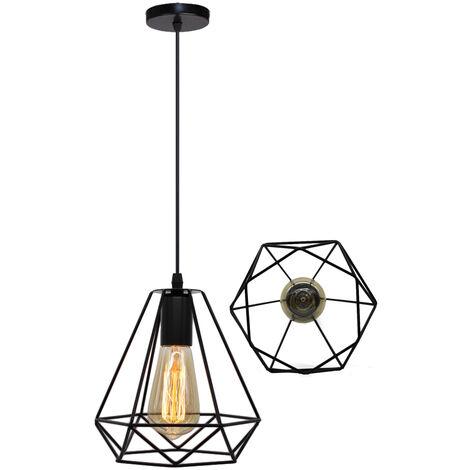 3PCS Lámpara Colgante Retro Industrial Colgante de Luz Vintage Luz Colgante 20CM Diamond Lámpara Colgante de Altura Ajustable para Sala de Estar Comedor Oficina Negra