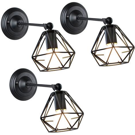 3pcs Lámpara de Pared de Jaula de Hierro de Metal Lámpara de Pared Industrial Antigua Lámpara de Araña de Diamantes para Dormitorio Café Oficina Negro