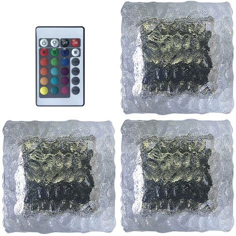3pcs LED solar de cristal Luz de ladrillo de 16 colores RGB del cubo de hielo al aire libre formada Luz de grama a prueba de agua del azulejo del paisaje Lampara de pie cuadrado de metro de la lampara con control remoto, 3pcs
