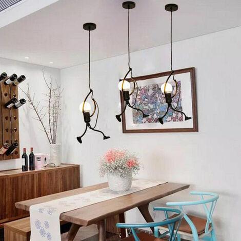 3pcs Lustre Suspension LED Mode Moderne Créatif Simplicité Luminaire pour Chambre Eclairage Lampe Douille E27 - Noir