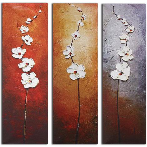 3pcs Peinture à l'Huile Tableau Fleur Abstraite Art Murale sur Toile Sans Cadre Peinture sans cadre