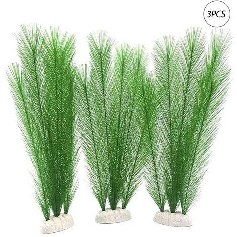 3PCS Plantas artificiales de acuario Plantas artificiales de plastico Adornos