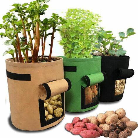 3Pcs plante cultivent des sacs en tissu non tissé Pot jardinage légume, sac de planteur de pommes de terre multicolore
