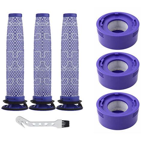 3Pcs Pre-Filtres + 3Pcs Post-Filtres + 1Pc Crochet De Nettoyage Brosse De Rechange Pour Dyson V7 / 8 Aspirateur, Xd4326