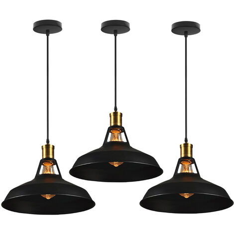 """main image of """"3pcs Rétor Lustre Suspension E27 27cm Luminaire Style Industrielle pour Salon Couloir Cuisine"""""""