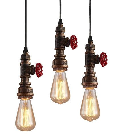 3pcs Retro Industrial Pendant Light Creative Steampunk Hanging Light Metal Pendant Lamp Vintage Ceiling Light Rust