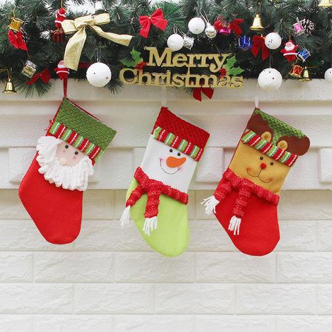 3pcs / set de Navidad Medias colgantes de Santa muneco de nieve de regalo del reno Caramelo Bolsas Decoartions Navidad Adornos, 1 #