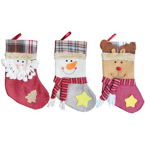 3pcs / set de Navidad Medias colgantes de Santa muneco de nieve de regalo del reno Caramelo Bolsas Decoartions Navidad Adornos, 2 #