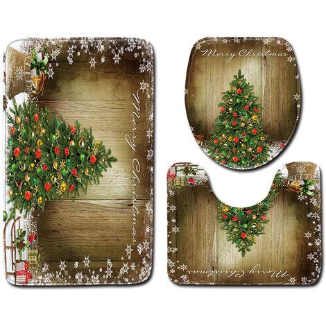 3pcs / Set Inicio Bano Decoracion del arbol de navidad impreso antideslizante de la estera del piso de la estera de bano + Pedestal Alfombra + tapa del inodoro cubierta decoracion de Navidad, estilo 2