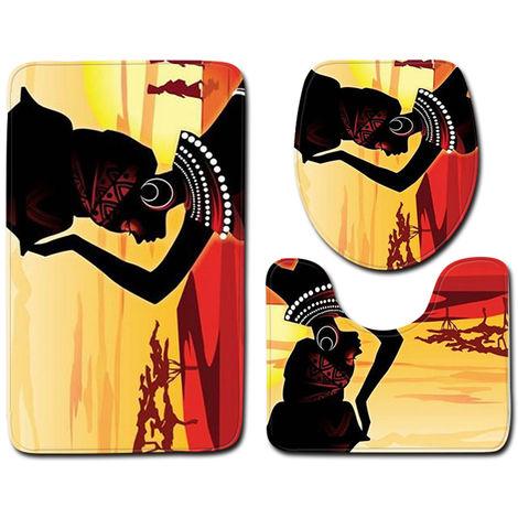 """main image of """"3pcs / set Patron africano impresa mujer franela bano Set decoracion antideslizante pedestal Tapetes y la tapa del inodoro y la cubierta de la estera de bano, 2 #"""""""
