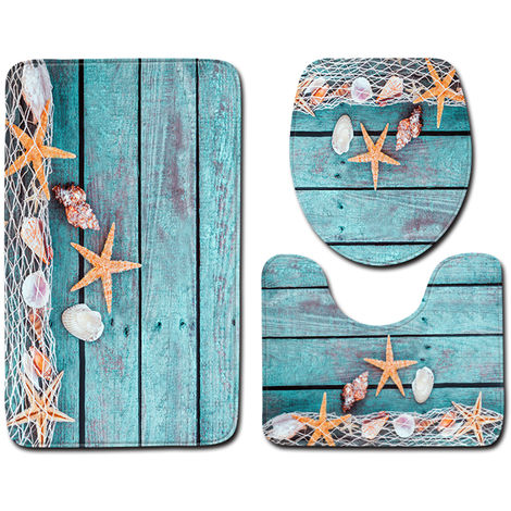 3Pcs / Set Summer Beach Conch Starfish Imprime Motif Flanelle Salle De Bains Ensemble Decor Non-Slip Socle Tapis Et Couvercle Toilettes Couverture Et Tapis De Bain, Style 3