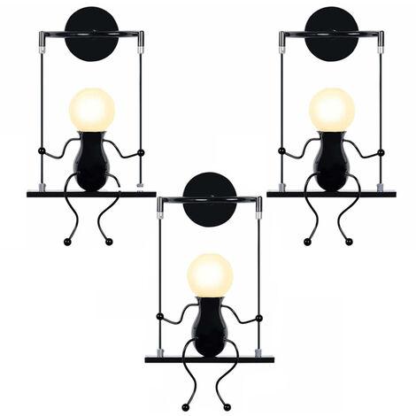 3pcs Swing Decor Ceiling Lamp Cartoon Human Shape Creative Wall Light Modern Metal Wall Lamp for Living Room Bedroom Children Room Black