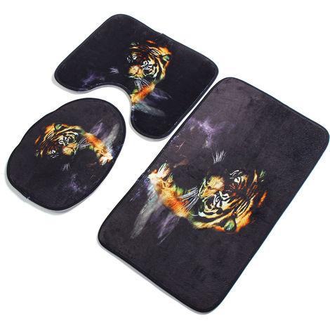 3pcs tiger bathroom decor floor bath mat + pedestal mat + toilet seat