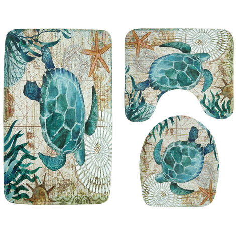 3pcs toilet toilet seat cover cushion carpets and rugs up rugs and bath mats turtles Style Mohoo