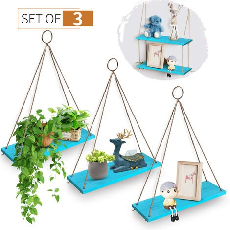 """main image of """"3pcs Wall Hanging Shelf Rope Floating Shelves Wooden Rack Holder Stand Home Decor"""""""
