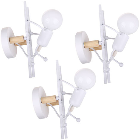 3pieces Modern Creative Art Chandelier Human Climbing Ladder Wall Light for Living Room Bedroom Cafe Bar White