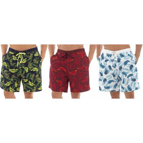 3PK Tom Franks Safari Print Summer Beach Swim Pool Shorts With Mesh Liner