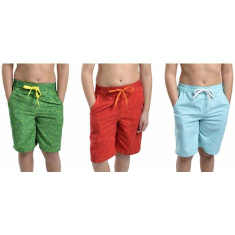 3PK Tom Franks Shark Print Summer Beach Swim Pool Shorts 6-7 Yrs