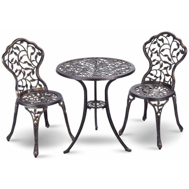 3pz Set Tavolo da Giardino con 2 sedie Set da Balcone, Un Tavolo e Due sedie, in Alluminio, Color Rame