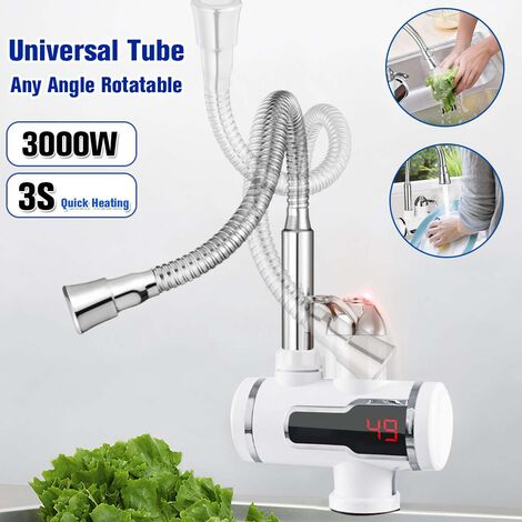 """main image of """"3S Fast Heating 3000W 360 ¡ã Tankless Digital Electric Instant Hot Water Faucet Kitchen Heater Faucet"""""""
