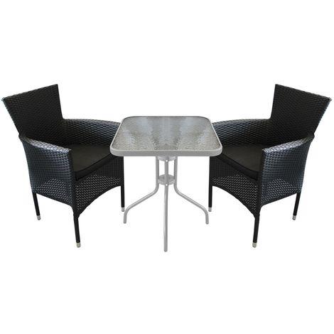 3tlg Balkonmöbel Bistro Set Glastisch 60x60cm 2x Poly Rattan