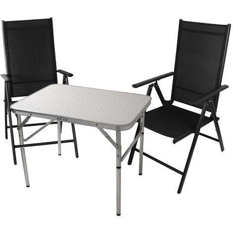 3tlg. Balkonmöbel Gartenmöbel Campingtisch Klapptisch 75x55cm + 2x Hochlehner mit 2x2 Textilenbespannung, Lehne um 7 Positionen verstellbar, klappbar
