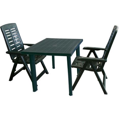 3tlg Bistrogarnitur Gartentisch, Sonnenschirmöffnung, 80x75cm + 2x Gartenstuhl Yuma, Klappstuhl, Kunststoff Campingstuhl - Grün