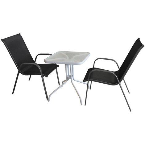 3tlg Bistromöbel Set Bistrotisch Glastisch Metall 60x60cm Weiß