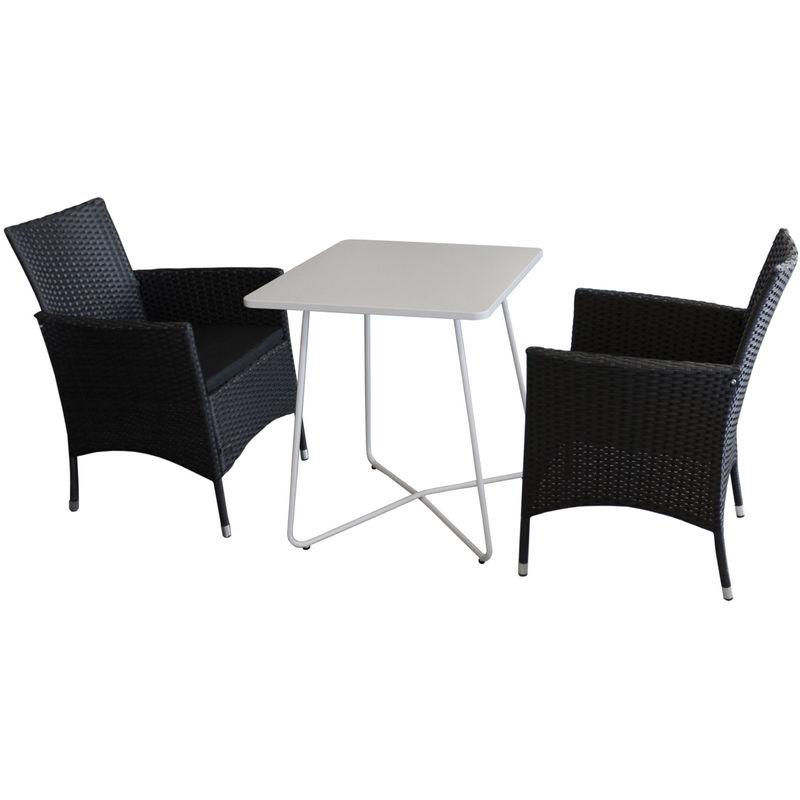 3tlg. Bistromöbel-Set Bistrotisch, Metall, 60x60cm, Weiß + 2x Rattansessel stapelbar inkl. Kissen - Gartenmöbel Campingmöbel Gartengarnitur