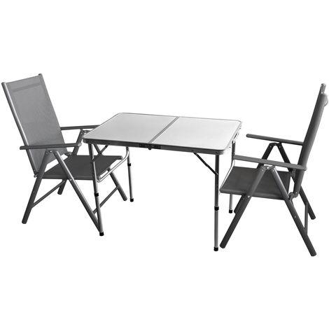 3tlg. Campingmöbel-Set Alu Campingtisch 'Bergen' 90x60cm + 2x Hochlehner 'Miami' Aluminium, Textilenbespannung, Grau, klappbar