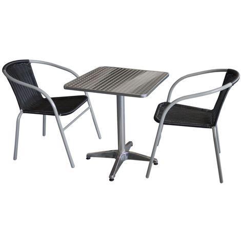 3tlg. Gartengarnitur Bistrotisch, 60x60cm, Aluminium + 2x Bistrostuhl, Polyrattanbespannung in Schwarz / Sitzgruppe Campingmöbel Gartenmöbel Set Sitzgarnitur
