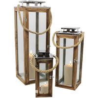 3tlg. Laternen-Set H34/50/70cm mit Seil Henkel Natur/Silber Laterne Holzlaterne Kerzenhalter Windlicht