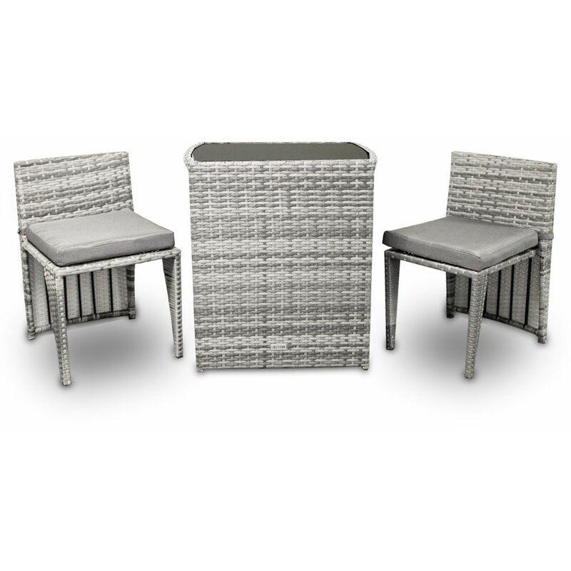 3tlg Poly Rattan Sitzgruppe Bistro Gartenmöbel Bistro Lounge Terasse Balkon Tisch Stühle Set (Grau) - LACESTONE