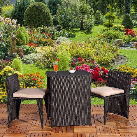 3tlg Polyrattan Lounge Gartenset Sitzgruppe In Schwarz Tisch Mit 2