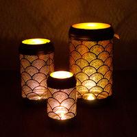 3tlg. Windlicht-Set 'Wave' H46/37/27cm, Schwarz/Gold, Laterne Gartenlaterne Kerzenhalter Gartenbeleuchtung