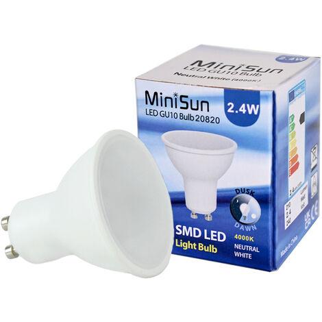 3W GU10 LED Dusk Till Dawn Sensor Light Bulb Neutral White 4500K Lighting