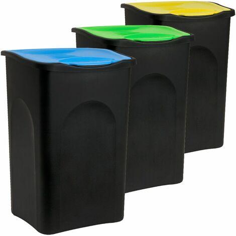 3x Abfalleimer mit Klappdeckel - je 50L- Mülltrennsystem Müllsortierer Abfallbehälter