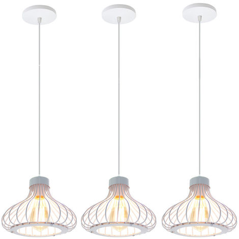 3x Altura Ajustable Luz de Techo Lámpara Colgante Industrial Vintage Lámpara Retro Creativa para Decoración de Interiores Dormitorio Cafe Bar Blanco