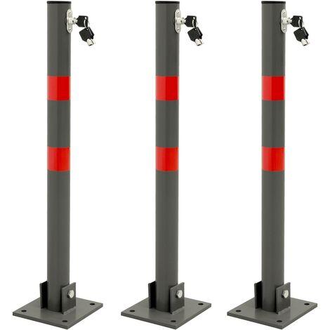 """main image of """"3x Barrière de parking rabattable poteau de stationnement borne de poste 68 cm"""""""