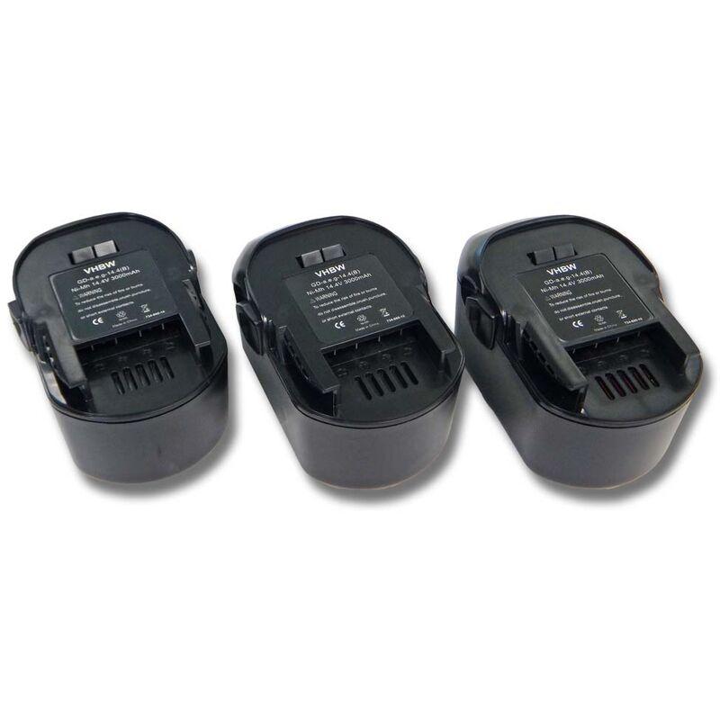 3x Batterie Ni-MH 3000mAh (14.4V) vhbw pour outils AEG BSS 14, AEG FL 14 comme AEG 4935413106, 4935416790, B1414G, B1415R.