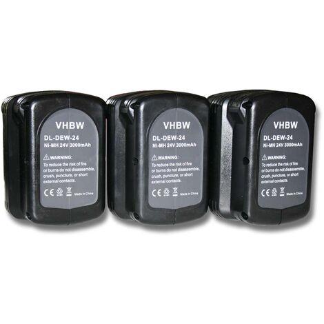 3x Batterie Ni-MH 3000mAh (24V) vhbw pour outils DW004K2H, DW005, DW005K-2, DW005K2C, DW005K2H comme Dewalt DE0240, DE0240-XJ, DE0241, DE0243.