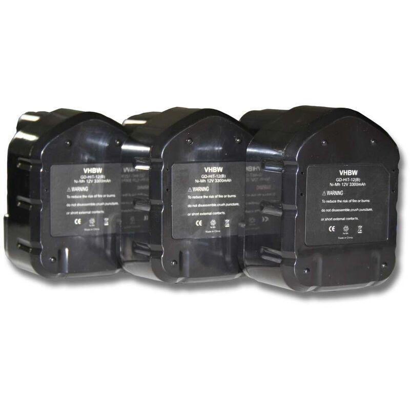 3x Batterie Ni-MH 3300mAh (12V) pour outils Hitachi C 5D, C5D, CD 4D, CD4D, CL 13D, CL13D comme Hitachi 320386, 320387, 320388, 320606, 320608. - Vhbw