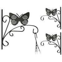 3x Blumenhaken mit Schmetterling-Motiv, Blumenampelhalter für Wand, Metall Garten-Deko, HBT: 30 x 27,5 x 2cm, schwarz