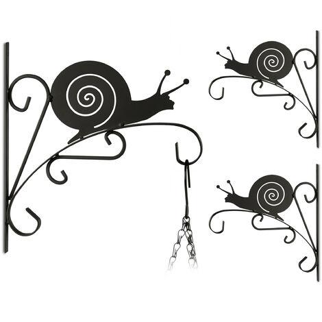 3x Blumenhaken mit Schnecken-Motiv, Blumenampelhalter für Wand, Metall Garten-Deko, HBT: 30 x 27,5 x 2cm, schwarz