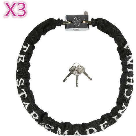 3x Candado de cadena Antirrobo para bicicletas y motos, Protección antirrobo para bicicletas 90cm seguro negro Seguro